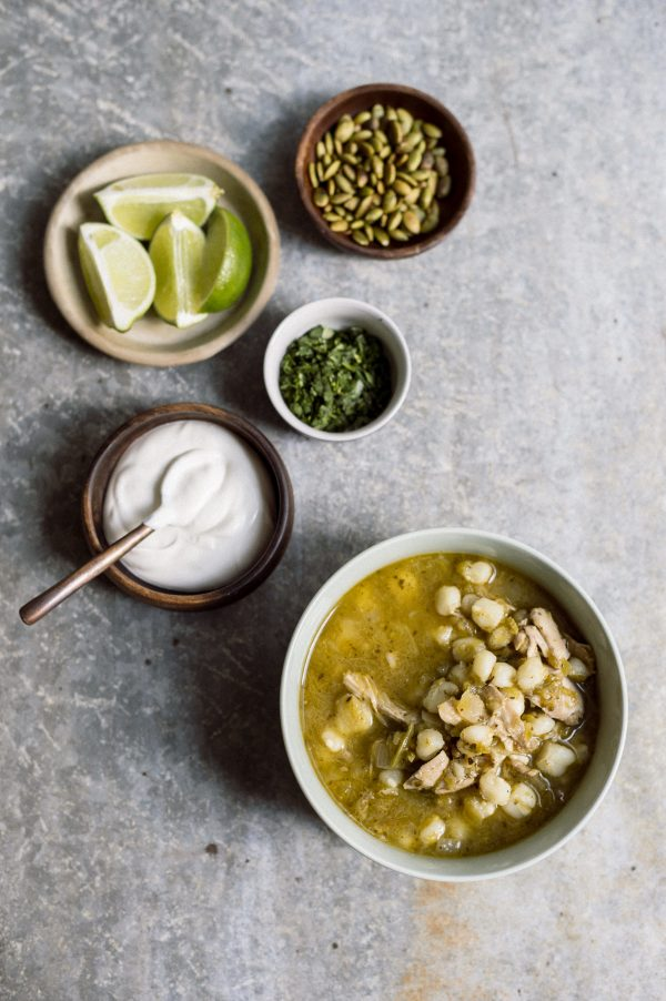 Mexican Chicken Soup with Tomatillos and Hominy