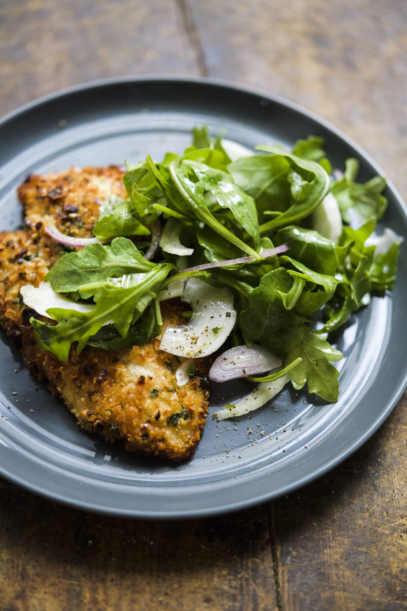 Hazelnut-Crusted Chicken Cutlets with Arugula and Fennel Salad
