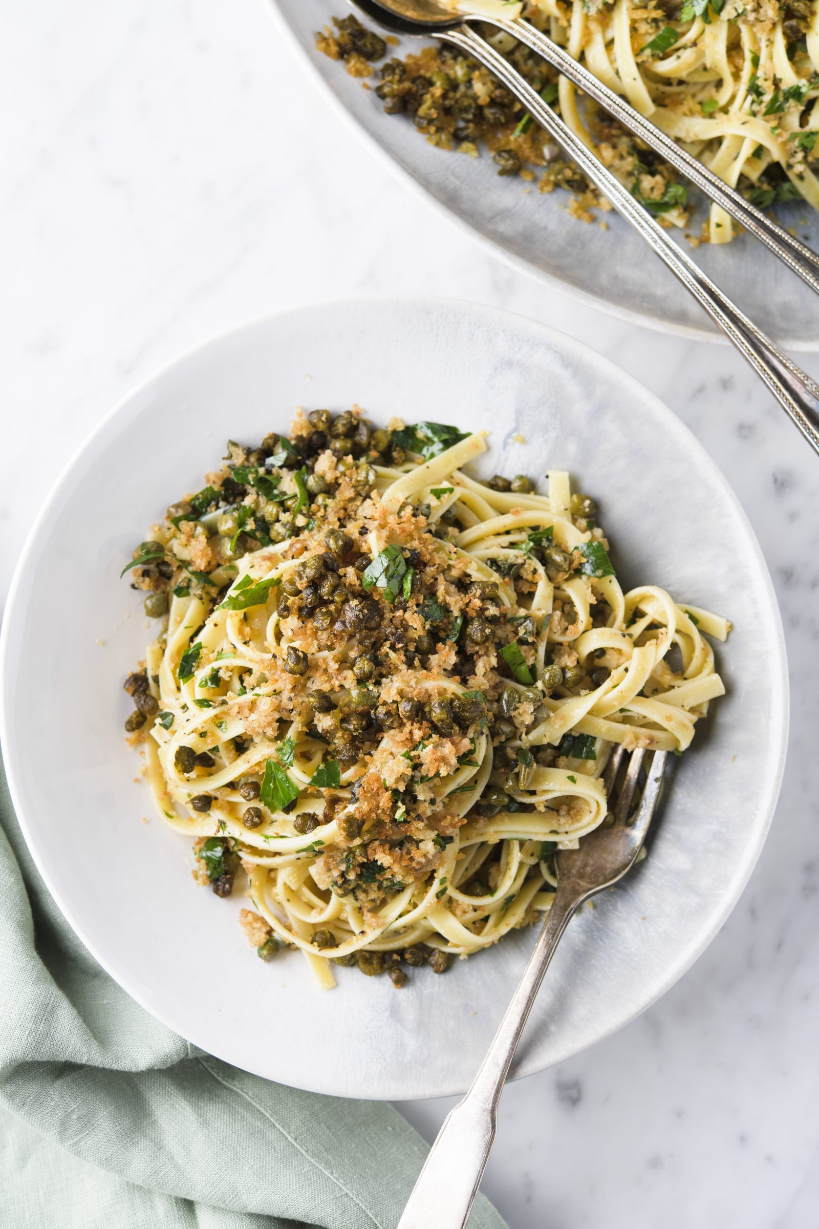 Pasta with Fried Capers and Toasted Breadcrumbs V