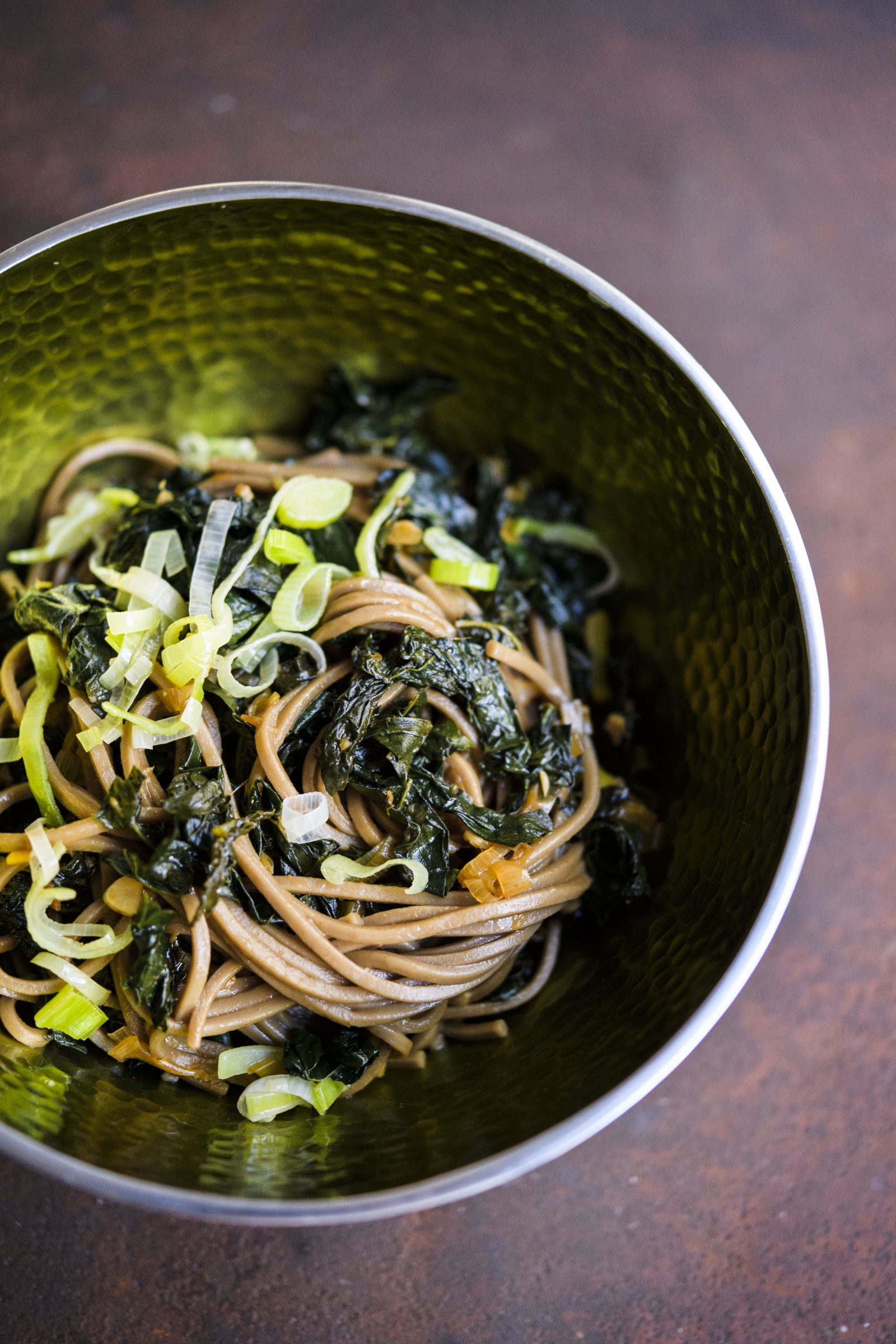 Spicy Garlic Soba with Greens