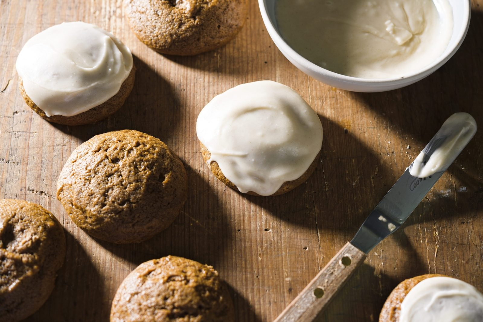 Chewy Molasses Spice Cookies with Browned Butter Icing
