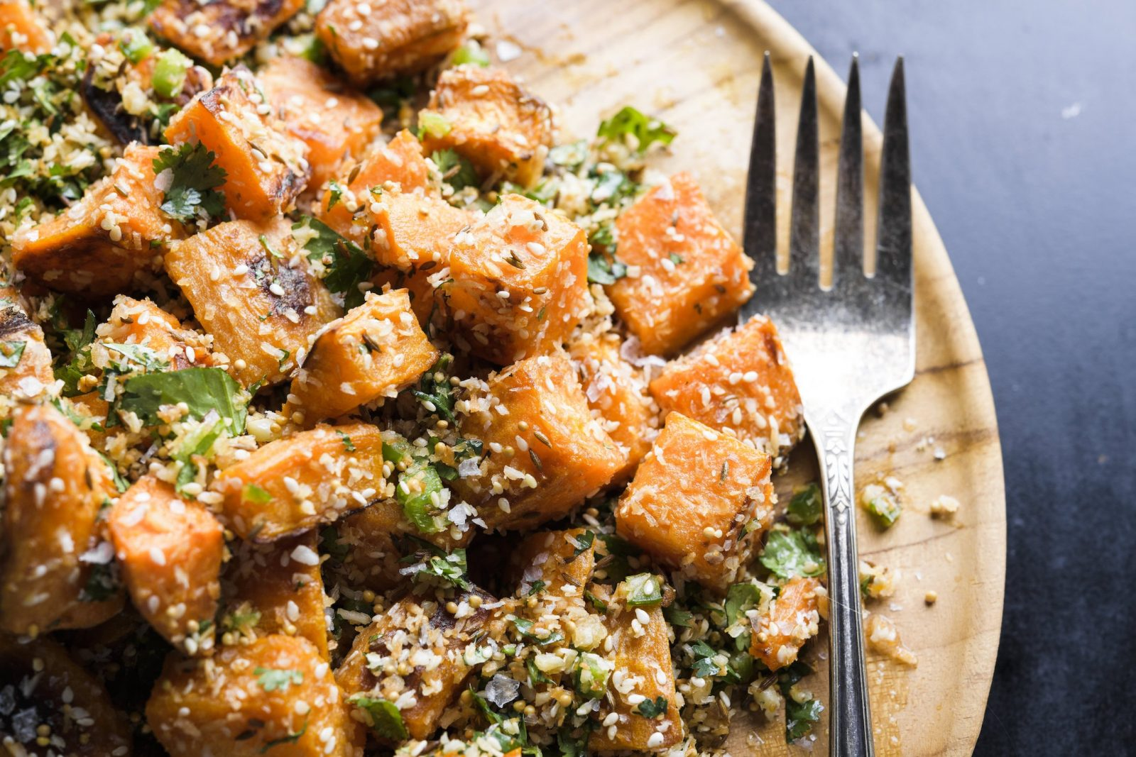 Roasted Sweet Potatoes with Toasted Spices and Cilantro (Sabzi)
