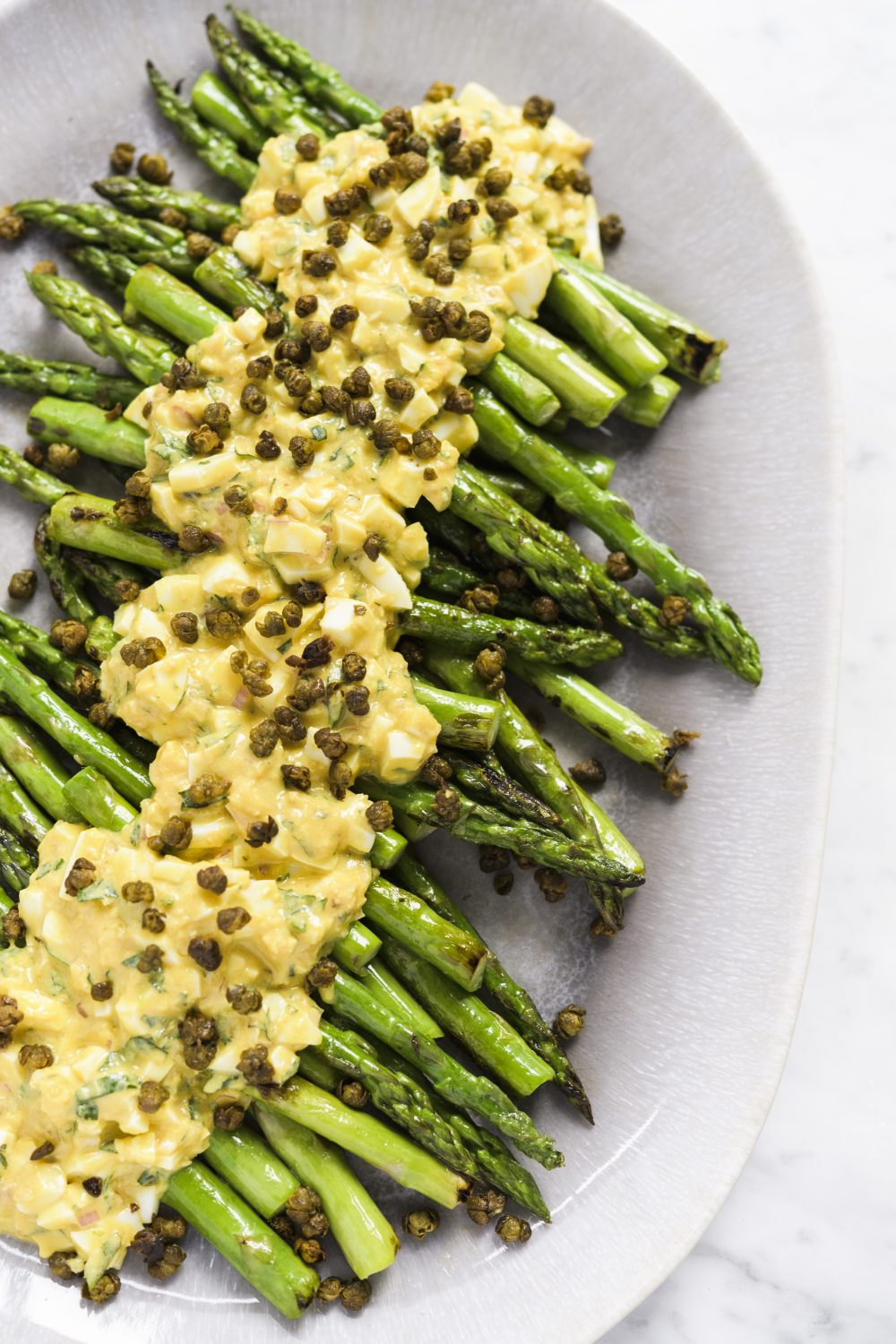 Asparagus with Sauce Gribiche and Fried Capers