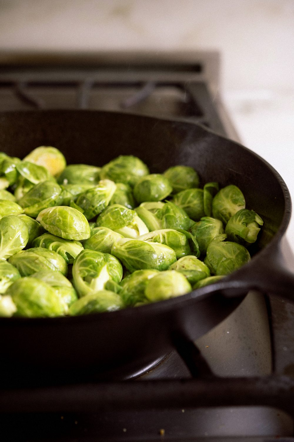 Brussels sprouts in a cast-iron skillet