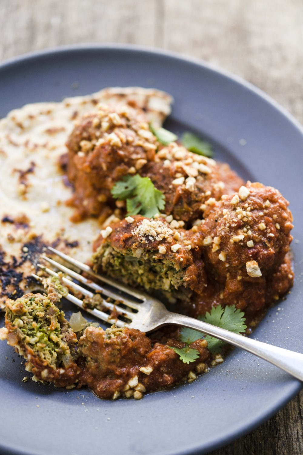 Cashew-Coconut Meatballs with Creamy Spiced Tomato Sauce