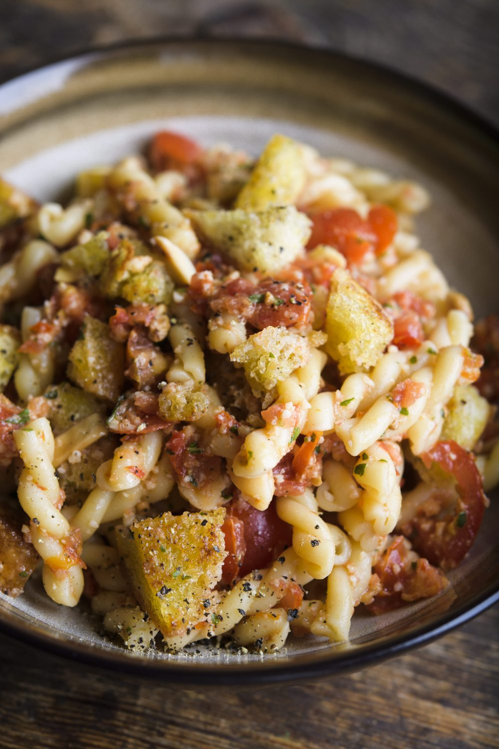 Gemelli with Fresh Tomato-Almond Pesto and Croutons (Silician Trapanese Pesto)