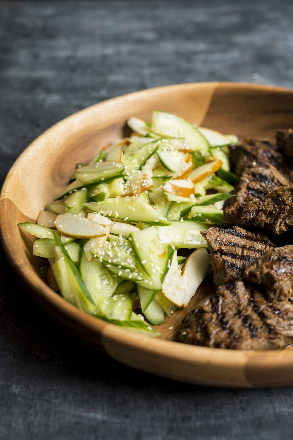 Ginger-Soy Steak with Pear-Cucumber Salad