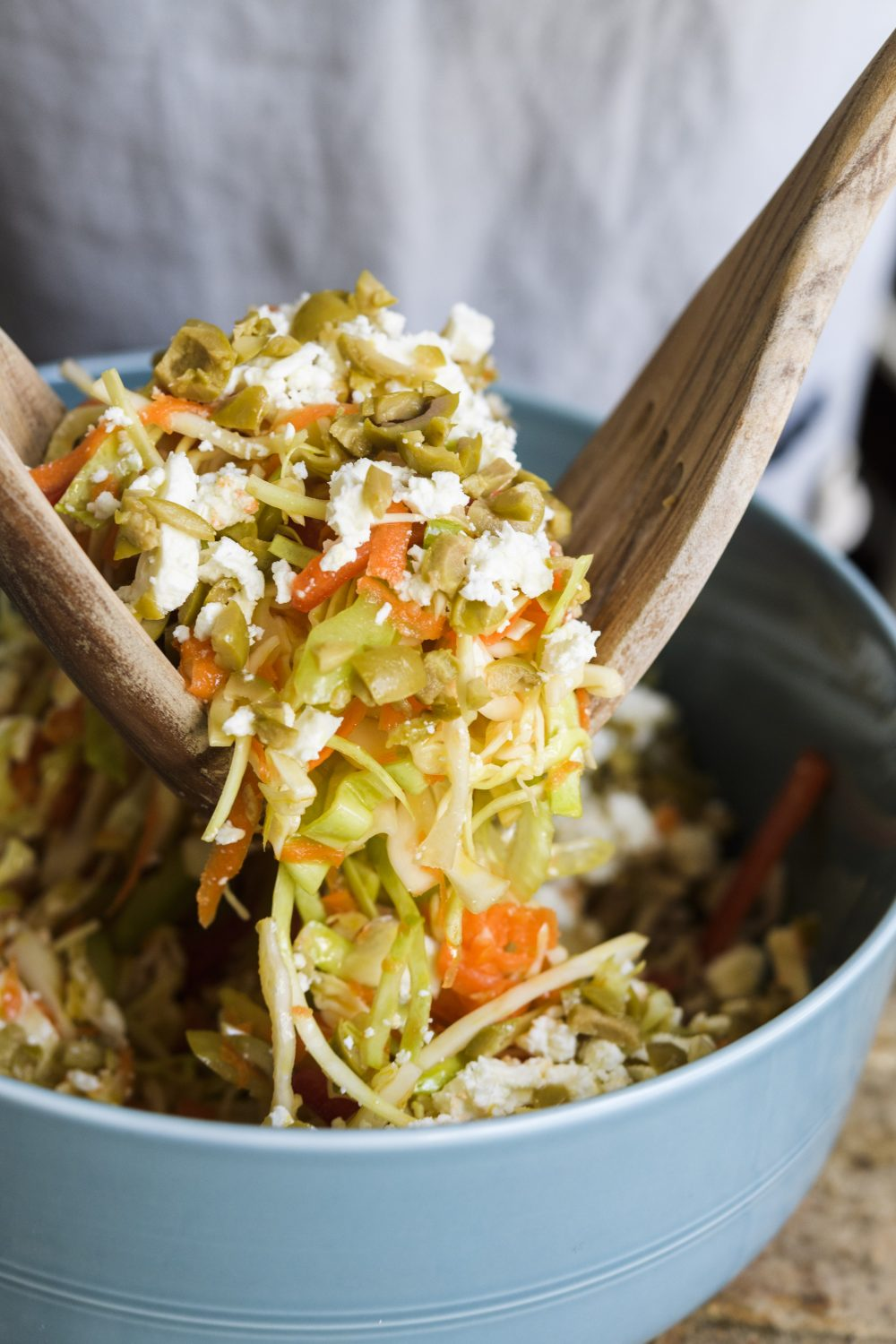 Greek Cabbage Salad with Carrots and Olives (Politiki Salata)