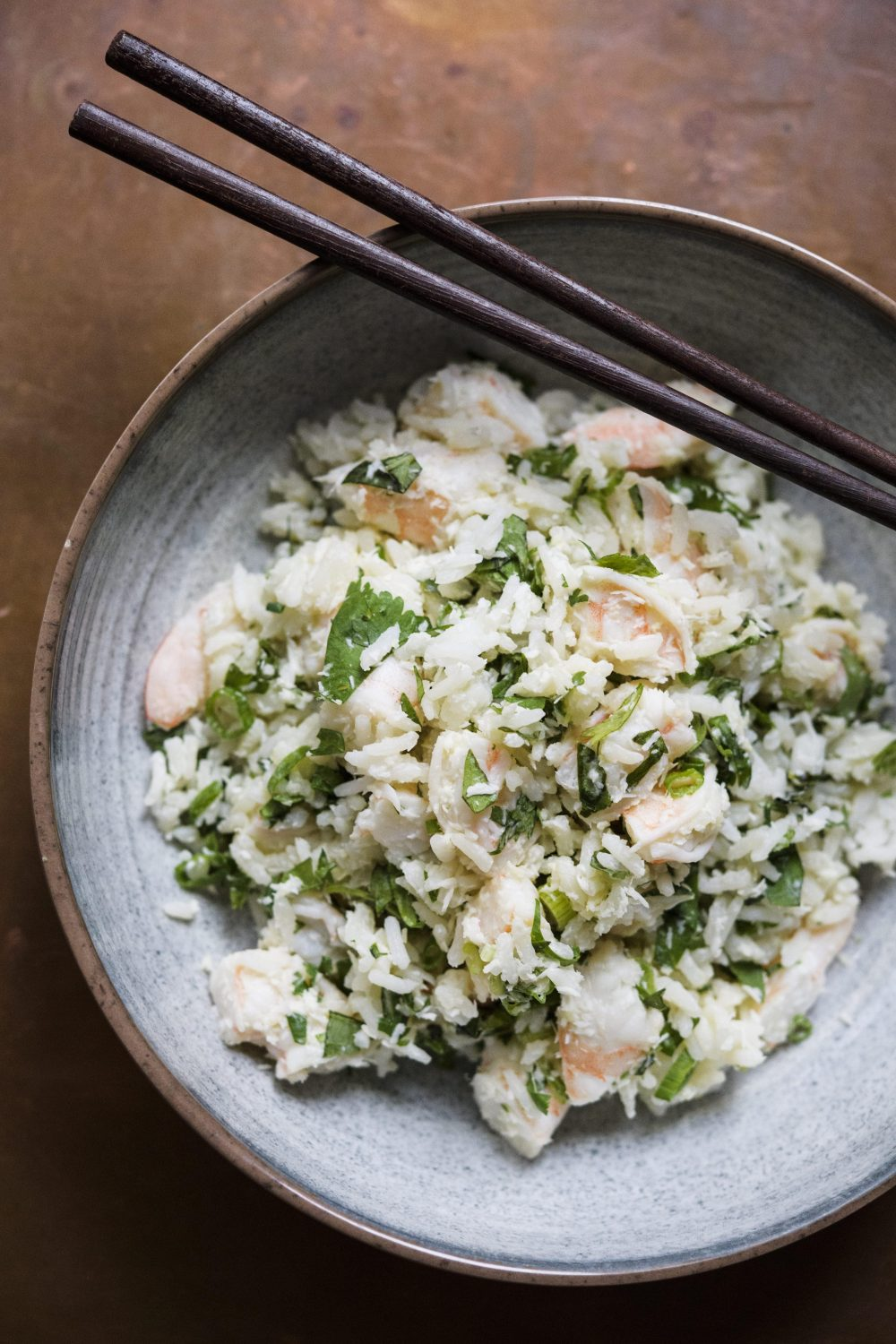 Jasmine Rice and Herb Salad with Shrimp