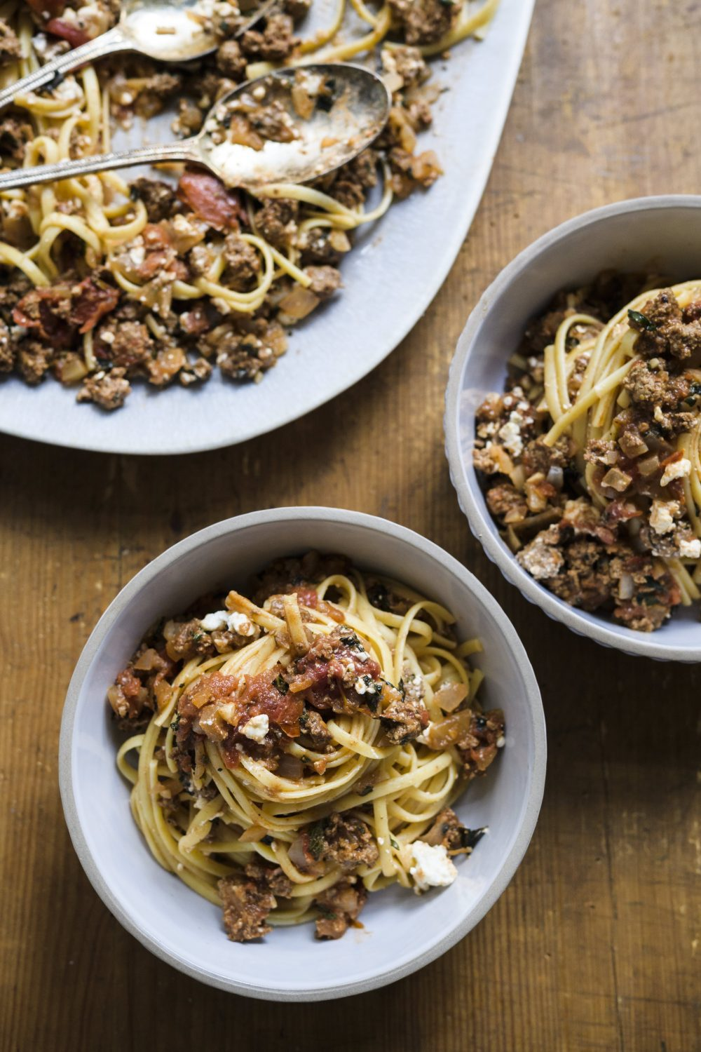 Linguini with Spiced Beef and Feta