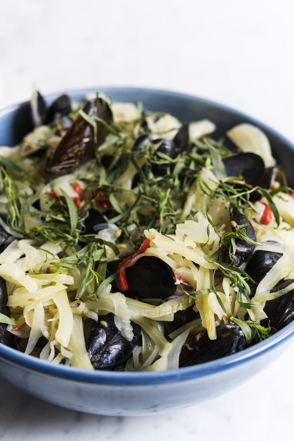 Mussels with Fennel, Crème Fraîche and Vermouth