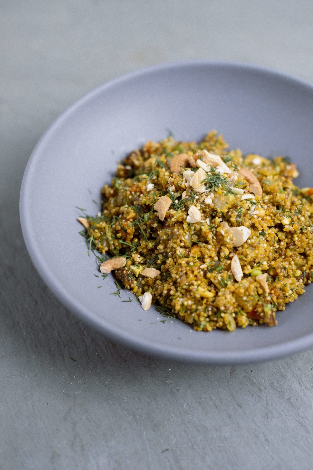 Quinoa Pilaf with Dates, Almonds and Carrot Juice