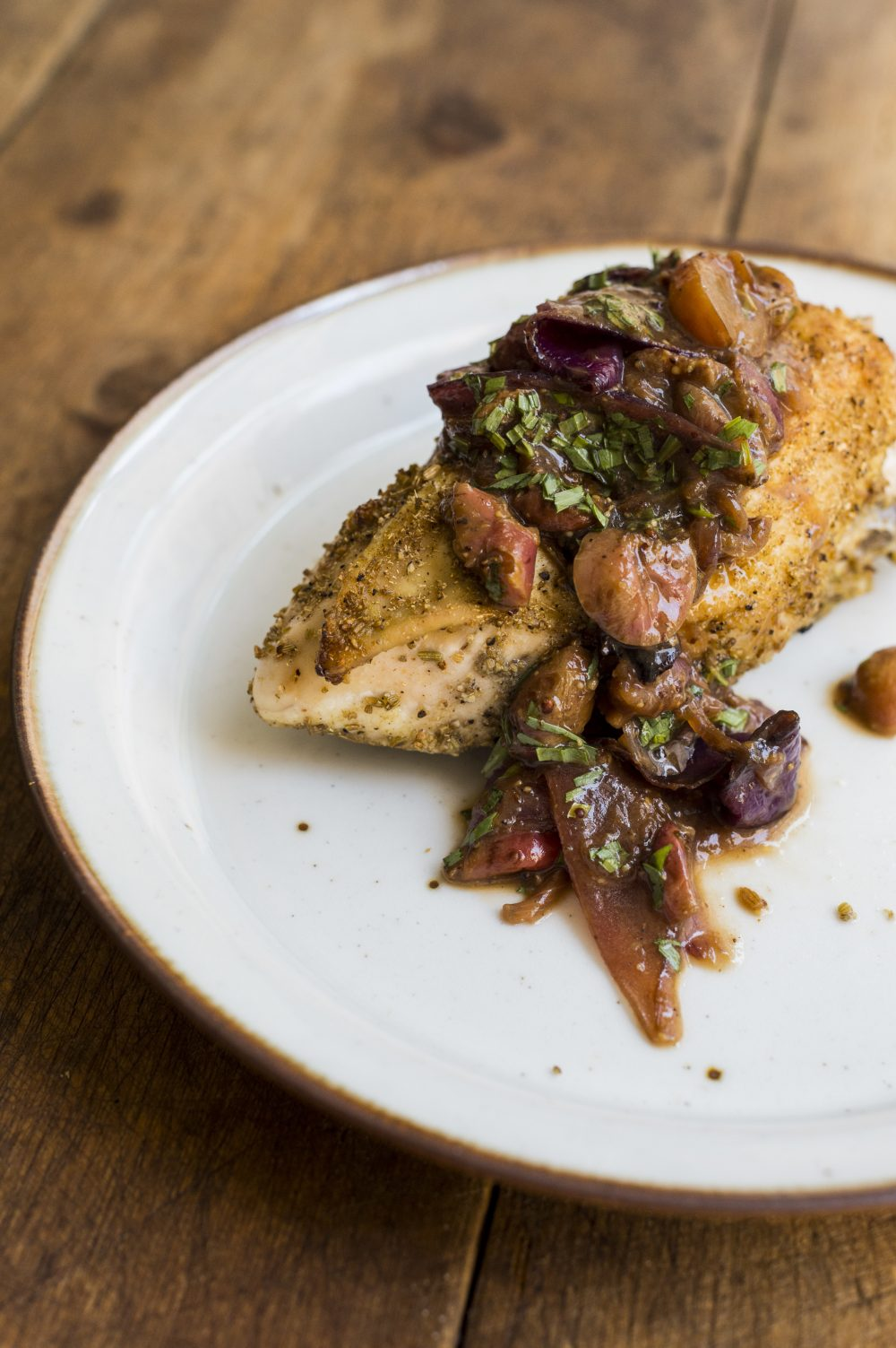 Roasted Chicken Breasts with Grapes and Sherry Vinegar