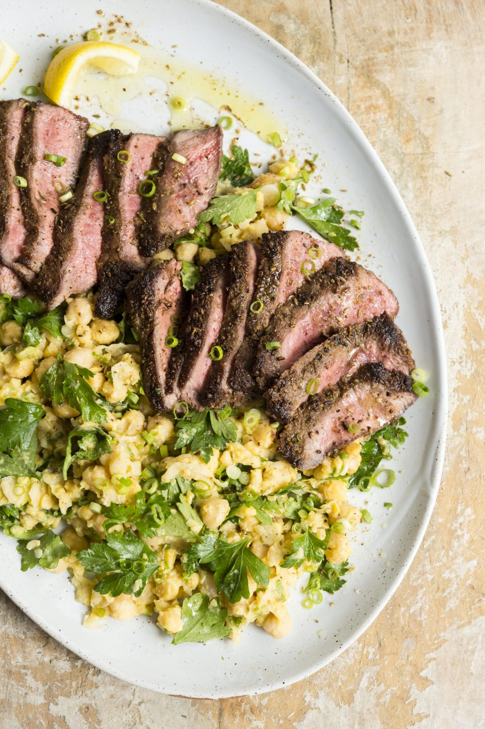 Spice-Crusted Steak with Mashed Chickpeas