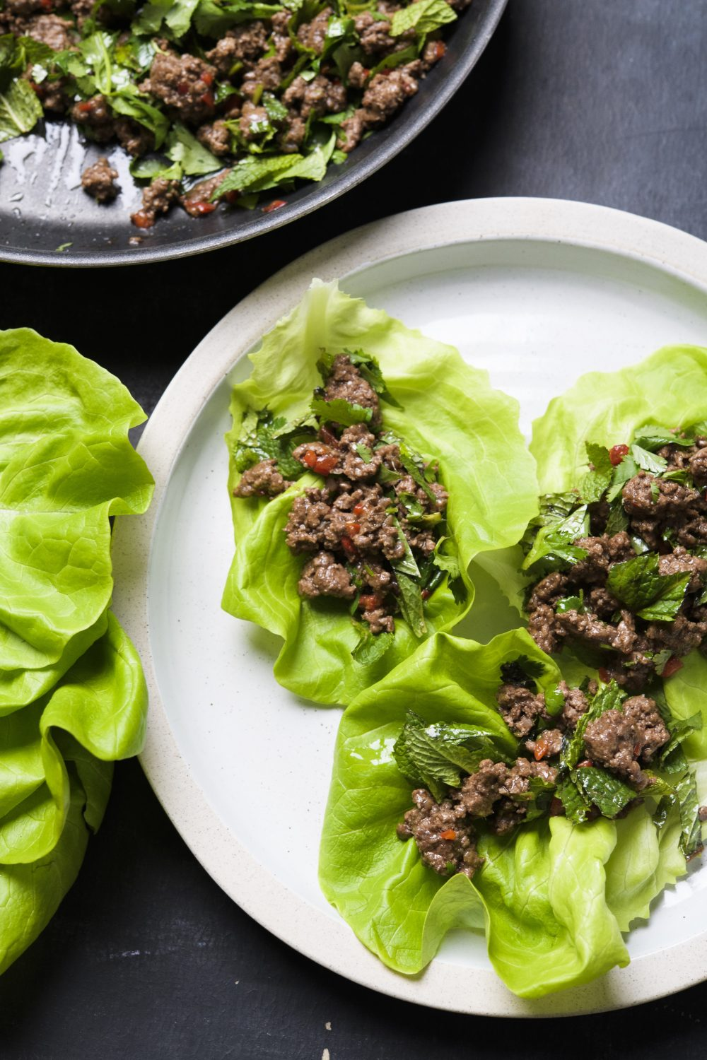 Stir-Fried Beef with Fresh Herbs Lettuce Wraps