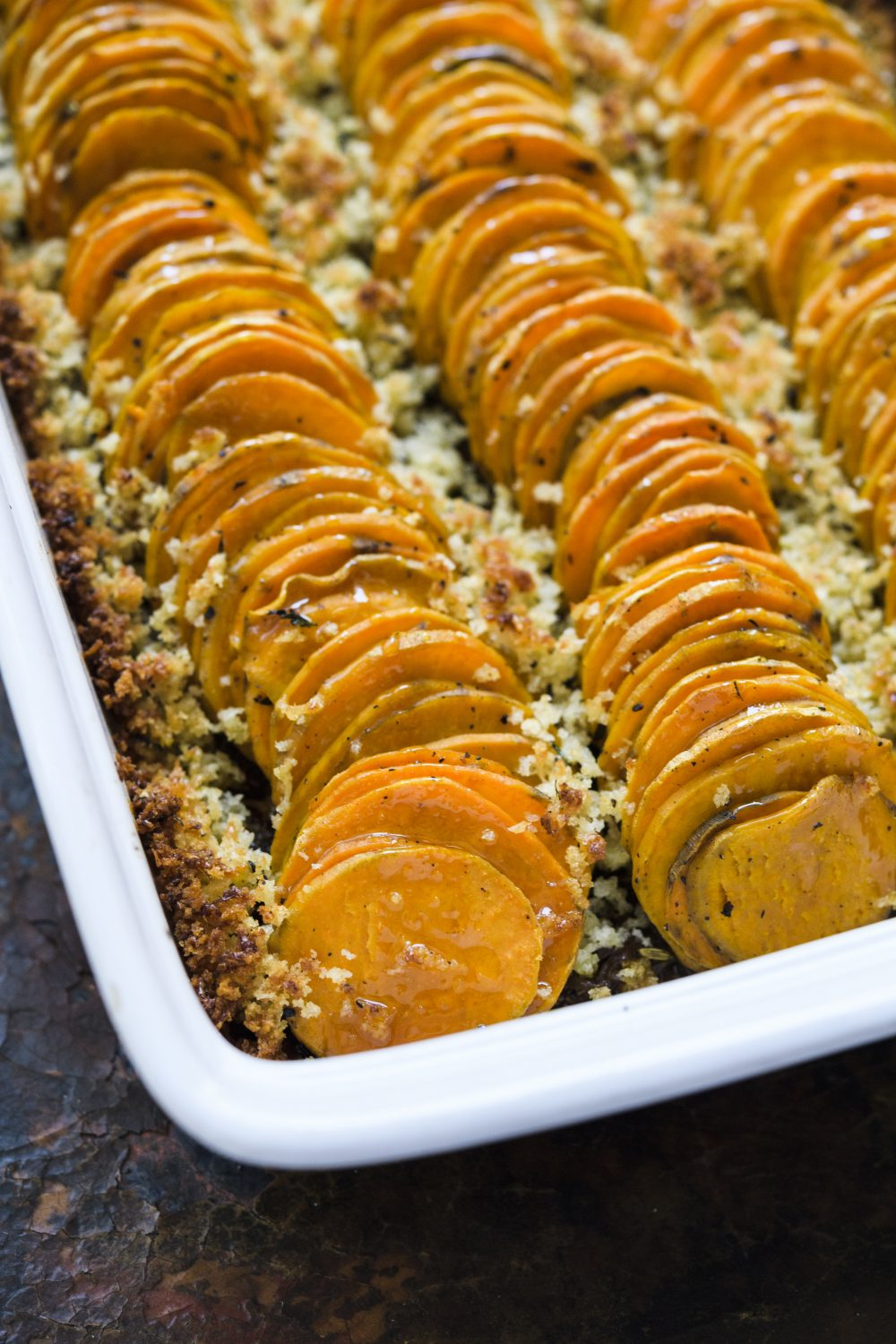 Sweet Potato and Shallot Casserole with Fennel Seed