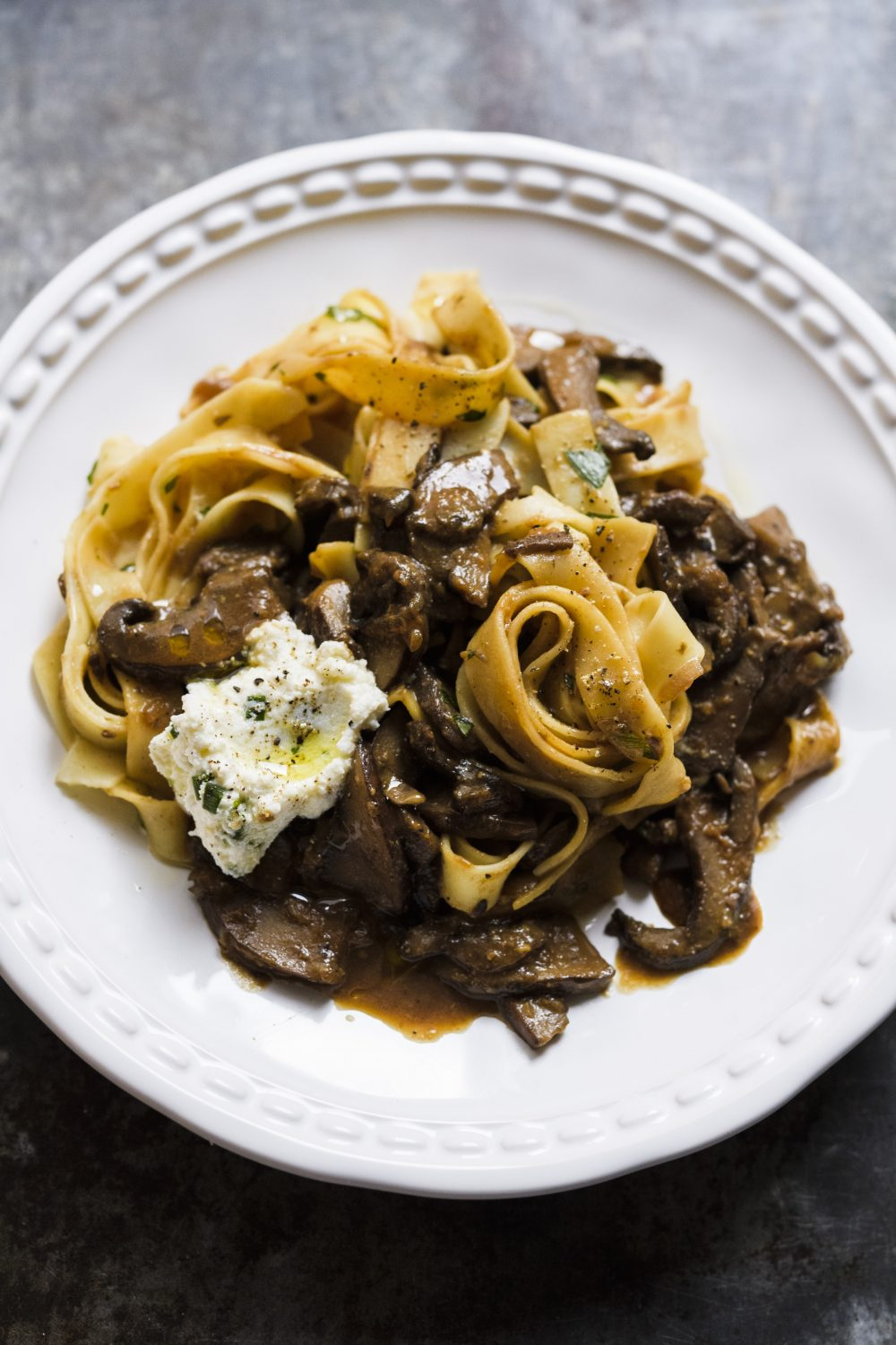 Tagliatelle with Portobellos and Chive Ricotta
