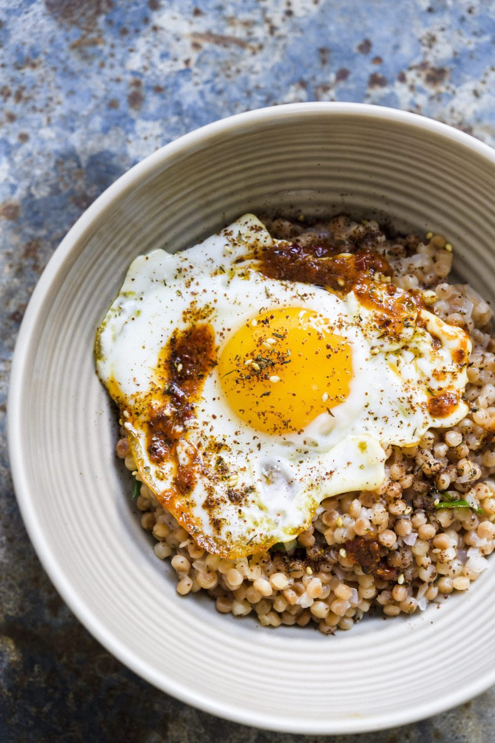 Toasted Pearl Couscous with Fried Eggs