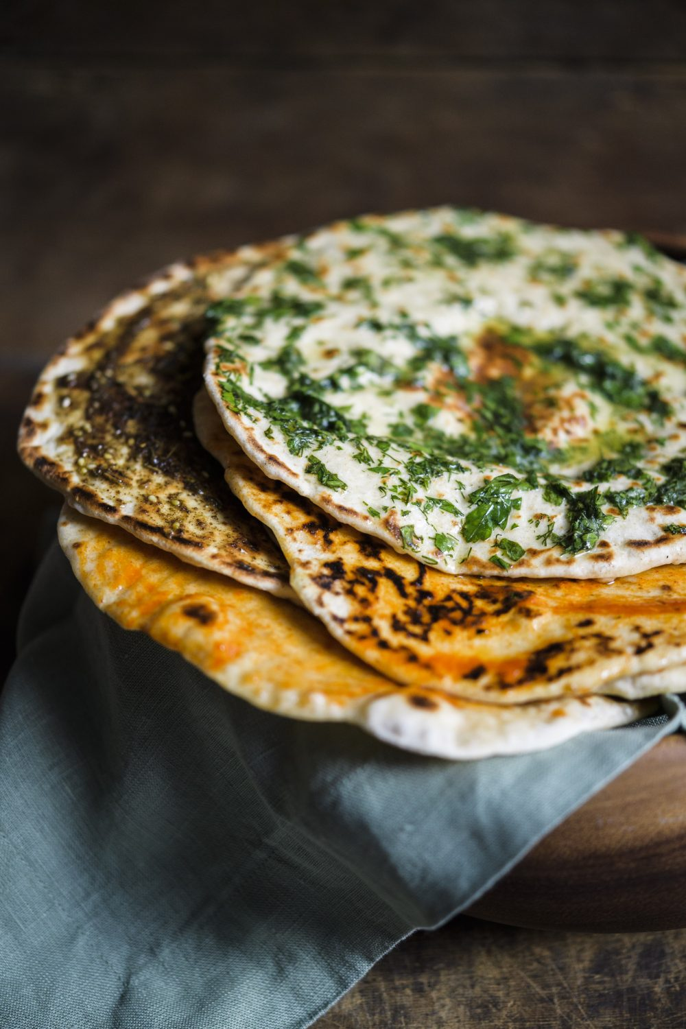 Yogurt Flatbreads with Flavored Butter