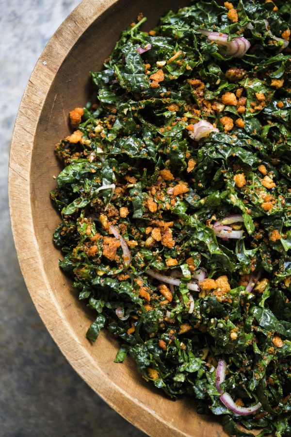 Kale Salad with Smoked Almonds and Picada Crumbs