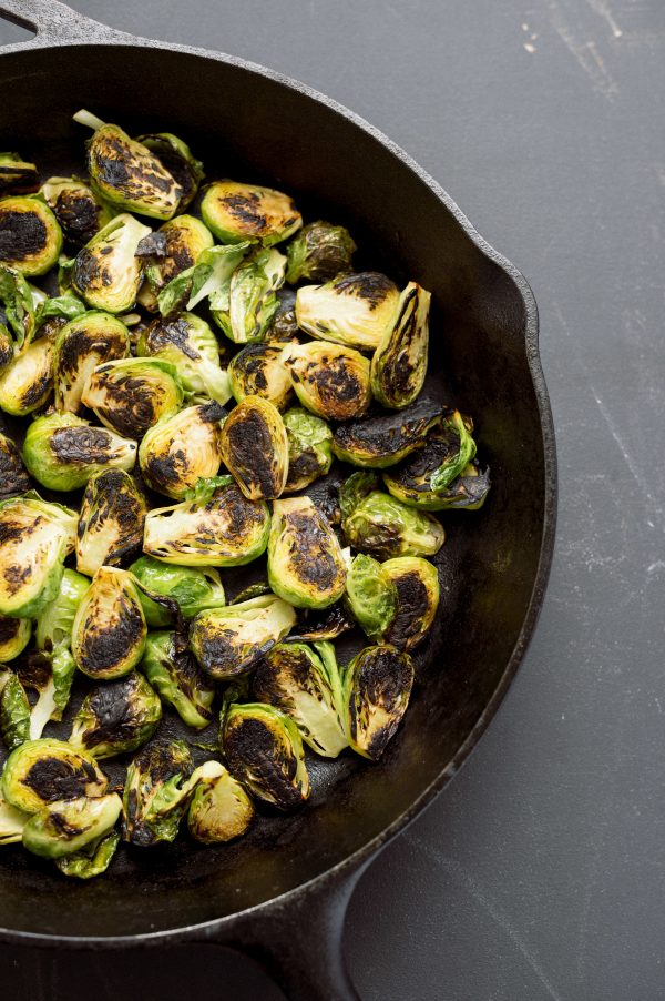 Skillet-Charred Brussels Sprouts with Garlic, Anchovy, and Chili
