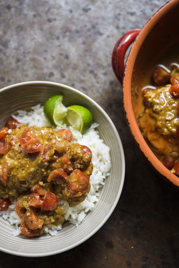 Colombian Coconut-Braised Chicken and Coconut Rice