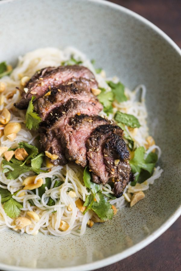 Ginger Beef with Rice Noodles and Herbs