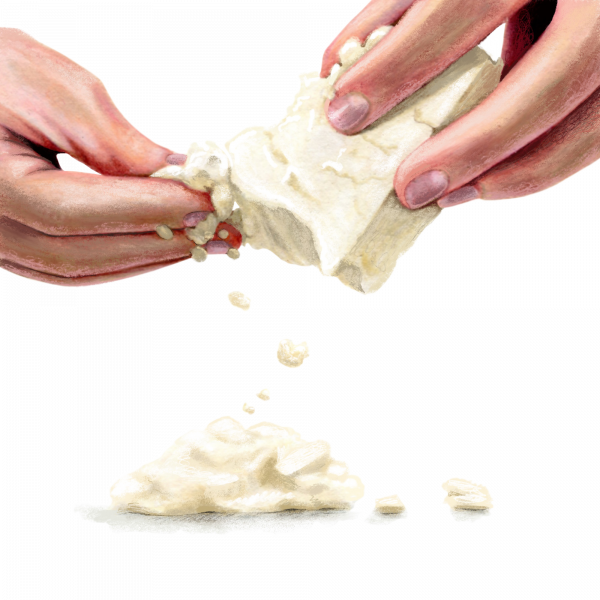 Hands Crumbling Feta