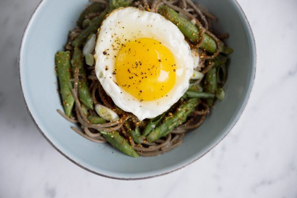 Soba with Miso Butter and Asparagus