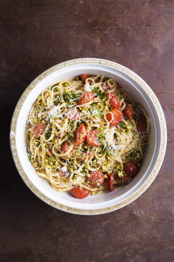 Pasta with Pistachios, Tomatoes and Mint