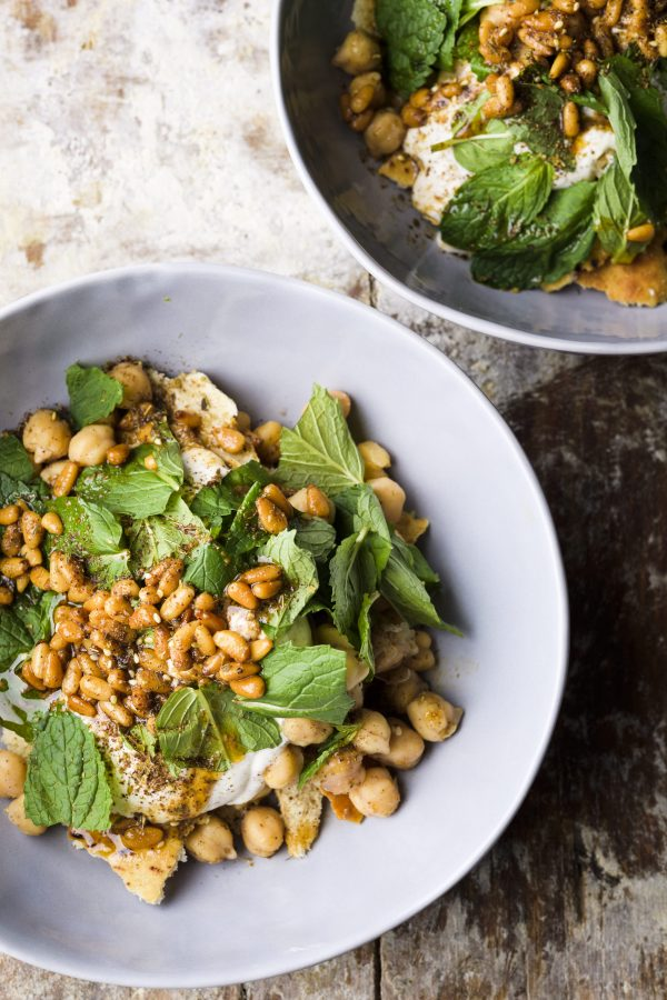 Pita and Chickpea Salad with Yogurt and Mint (Fatteh)