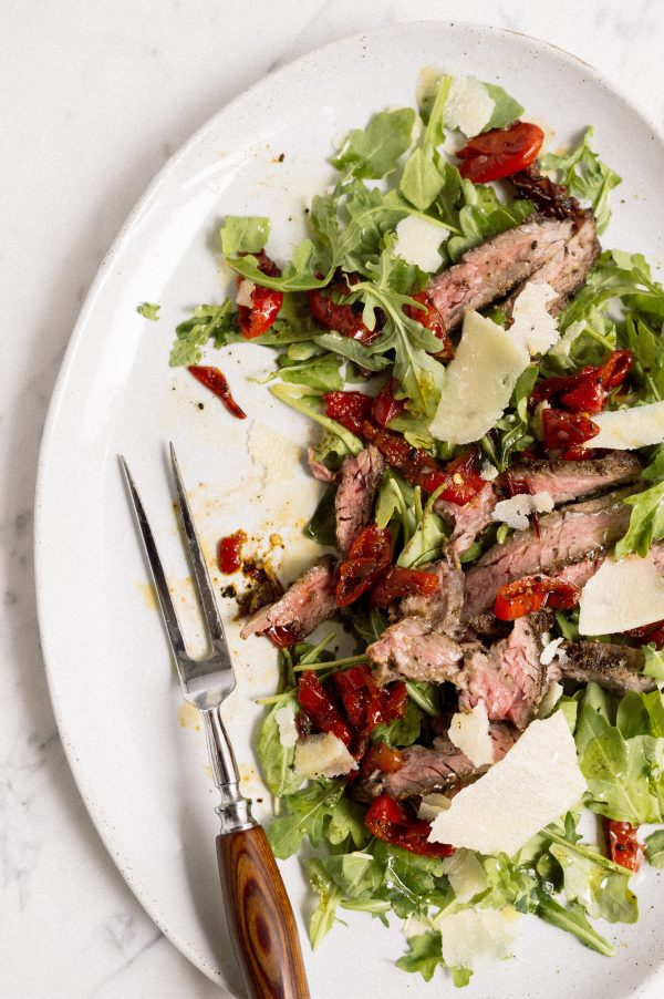 Skirt Steak Salad with Arugula and Peppadews
