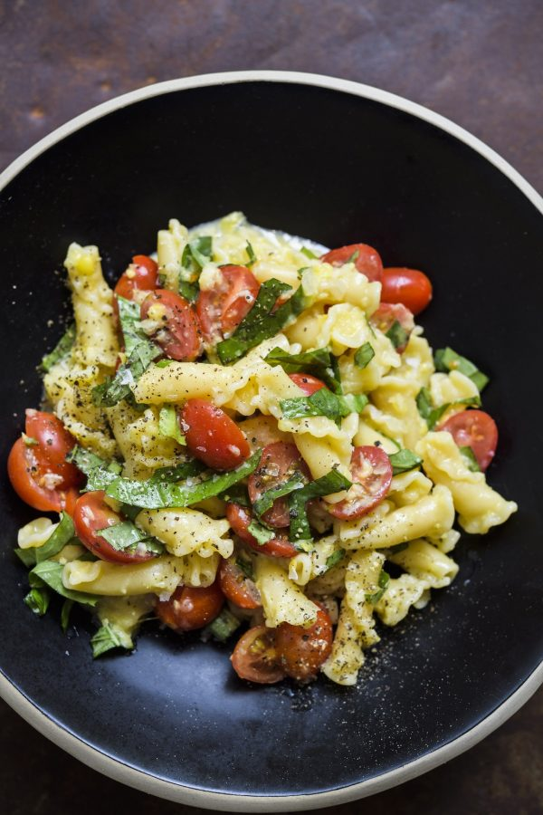 Campanelle Pasta with Sweet Corn, Tomatoes and Basil