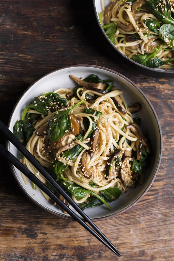 Udon Noodles with Shiitake Mushrooms and Spinach