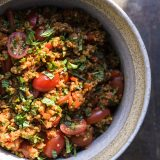 Bulgur-Tomato Pilaf with Herbs and Pomegranate Molasses (Eetch)