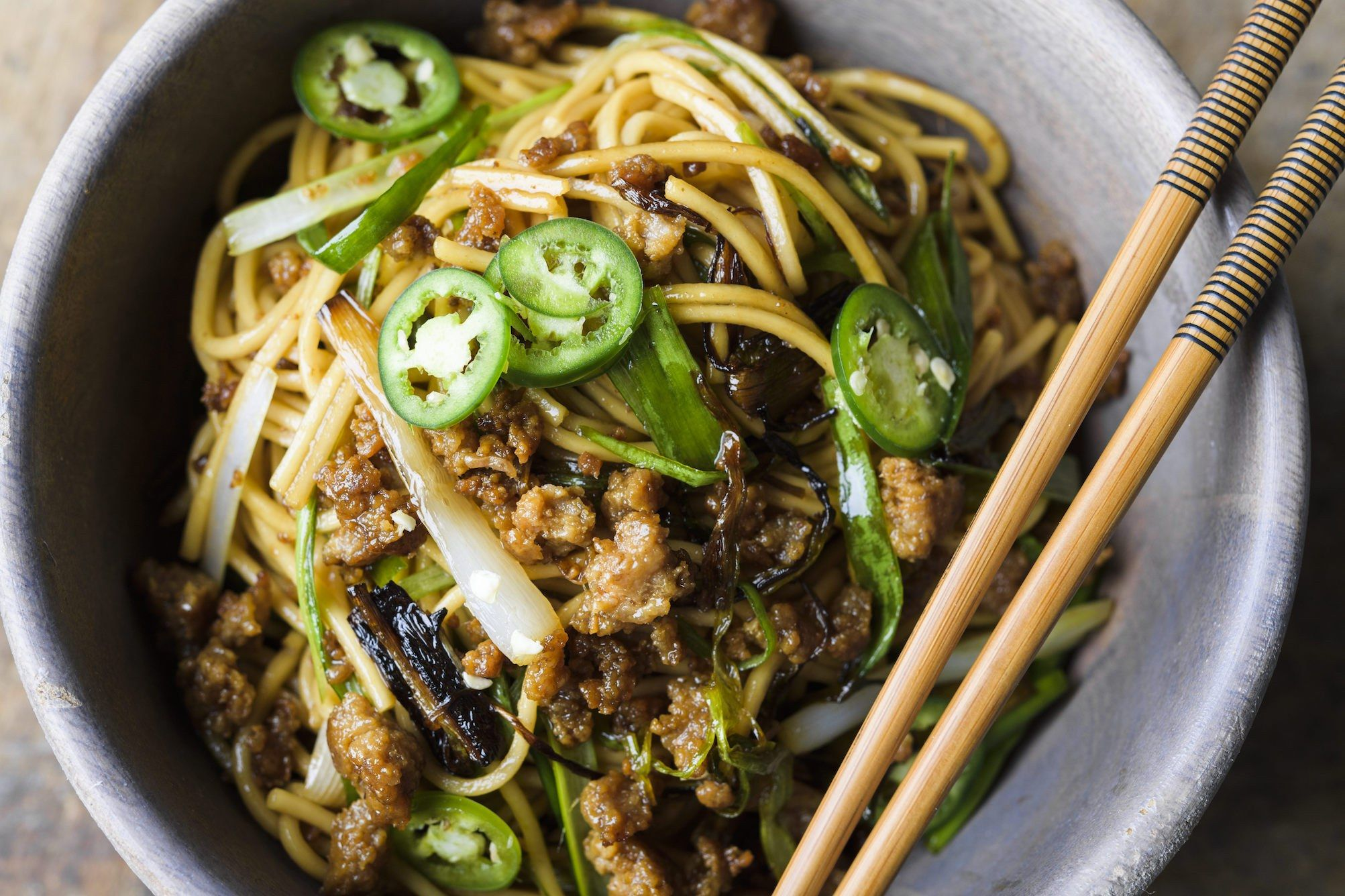 Shanghai-Style Scallion Noodles with Ground Pork