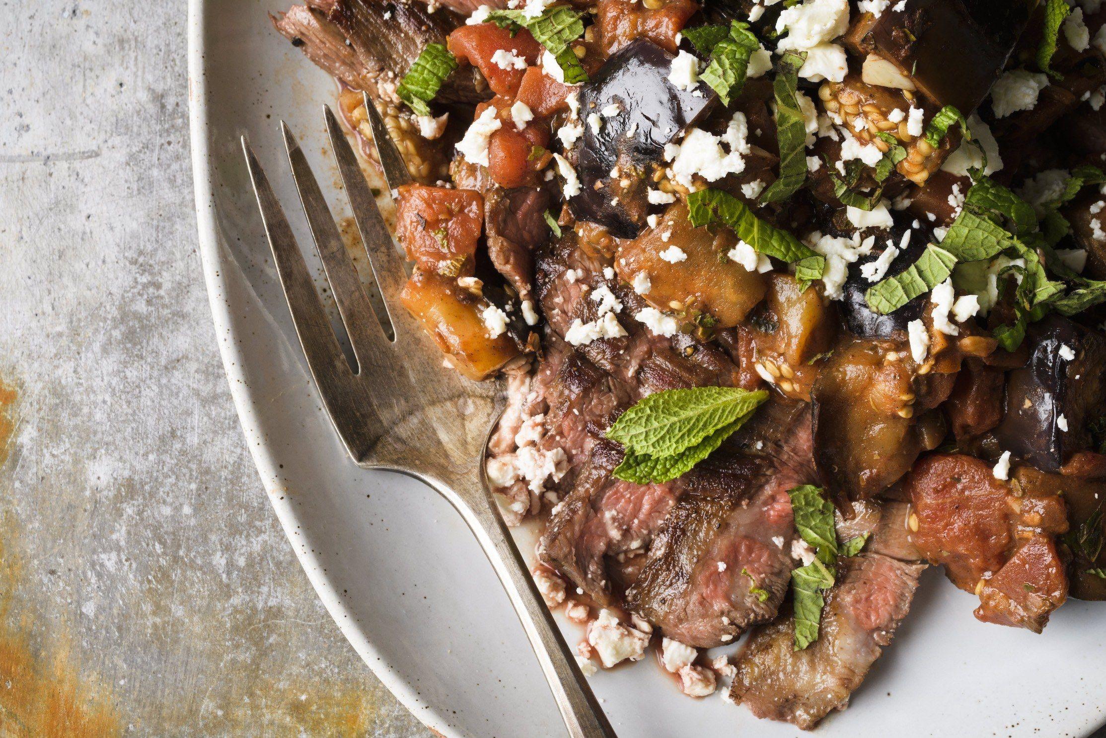 Flank Steak with Tomato-Eggplant Ragu