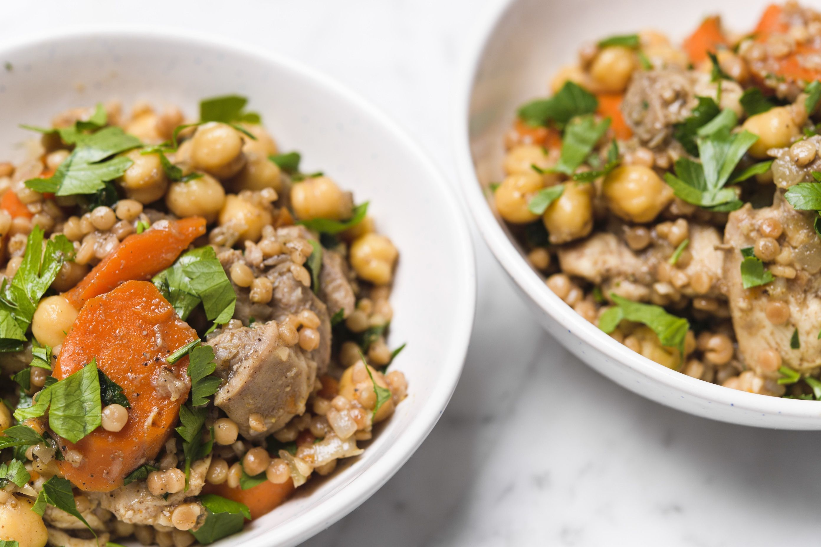 Toasted Pearl Couscous with Chicken and Chickpeas (Fast & Slow)