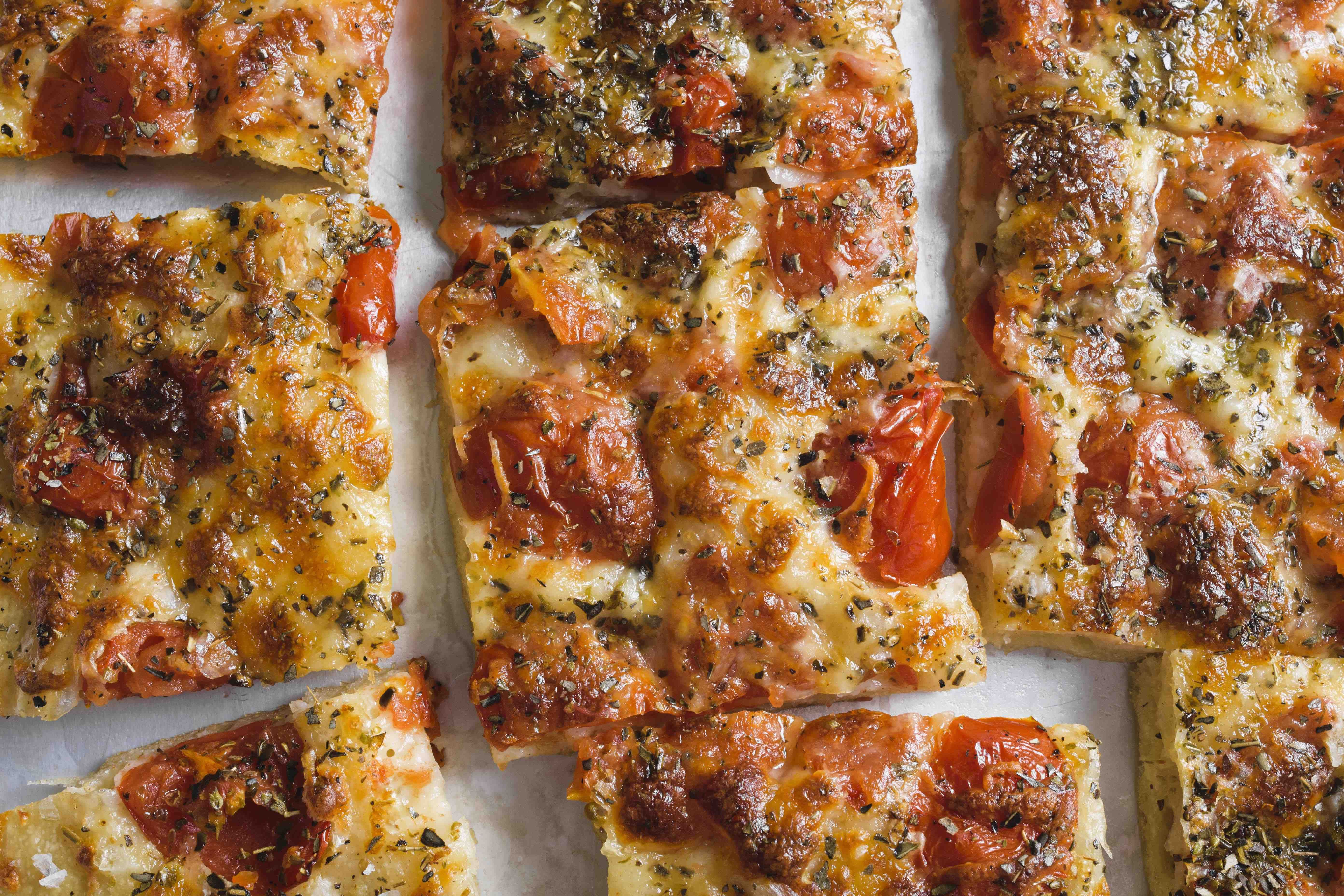 Pour-in-the-Pan Pizza with Tomatoes and Mozzarella
