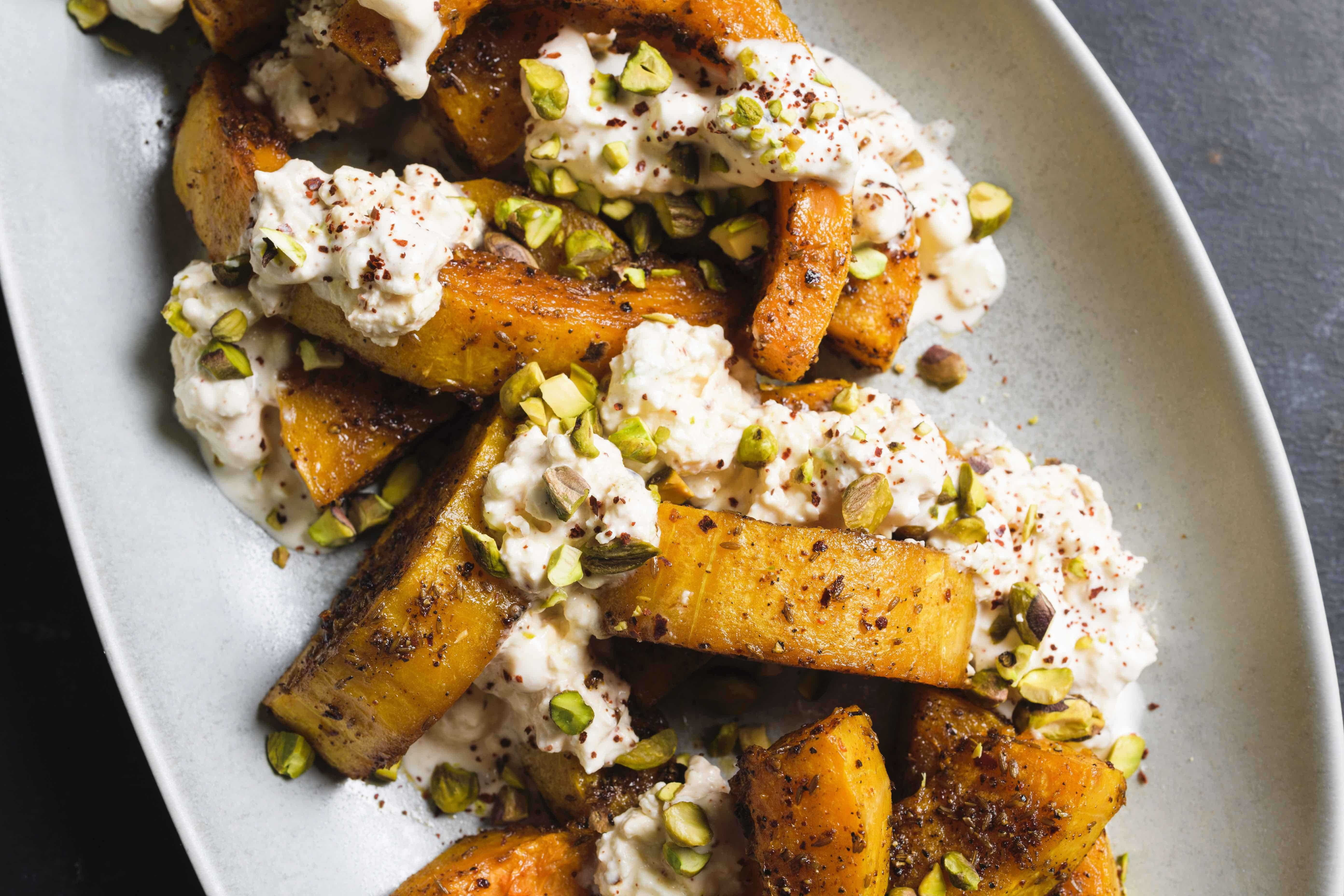 Roasted Butternut Squash with Cumin Seeds, Feta and Pistachios