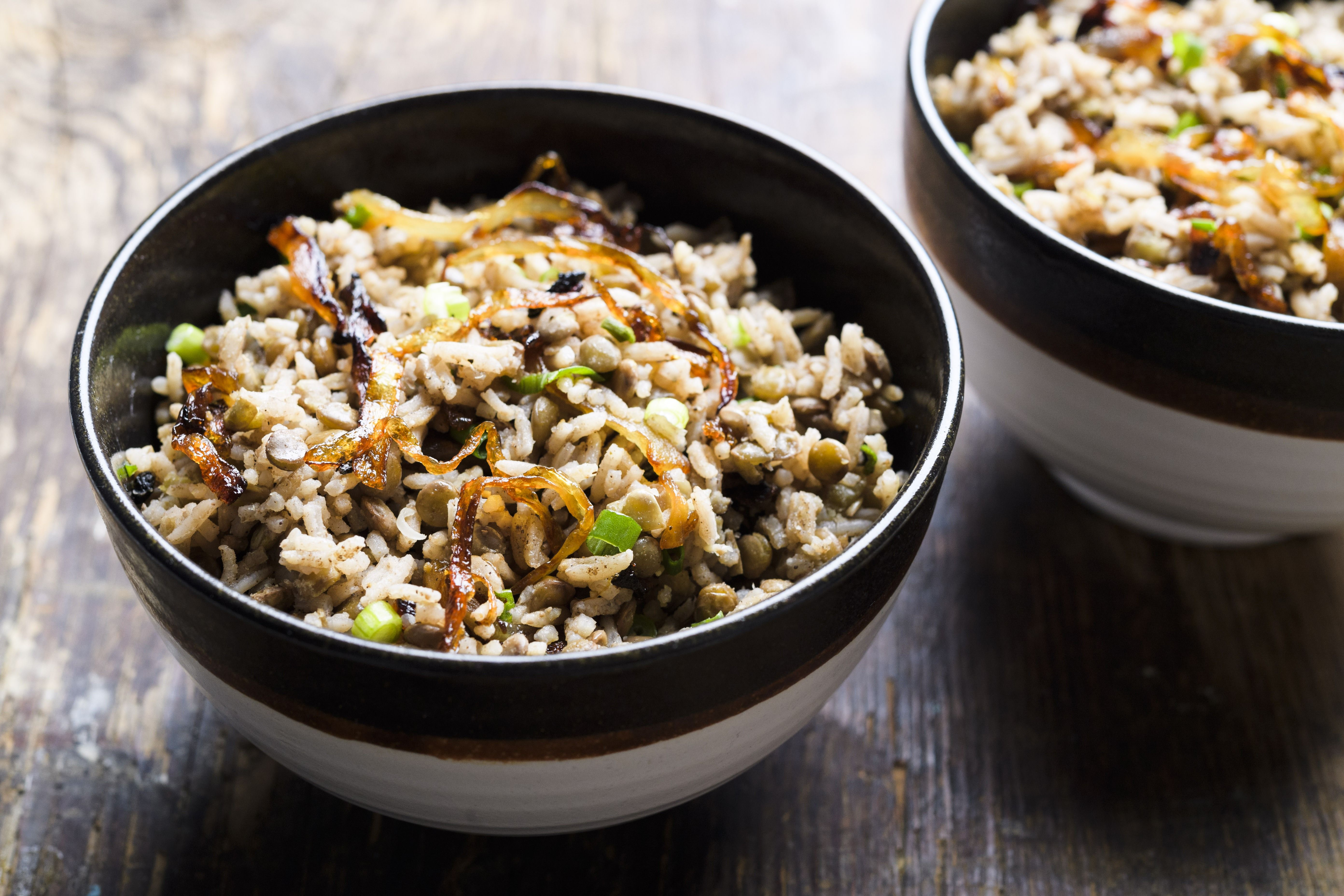 Lebanese Lentils and Rice with Crisped Onions (Mujaddara)