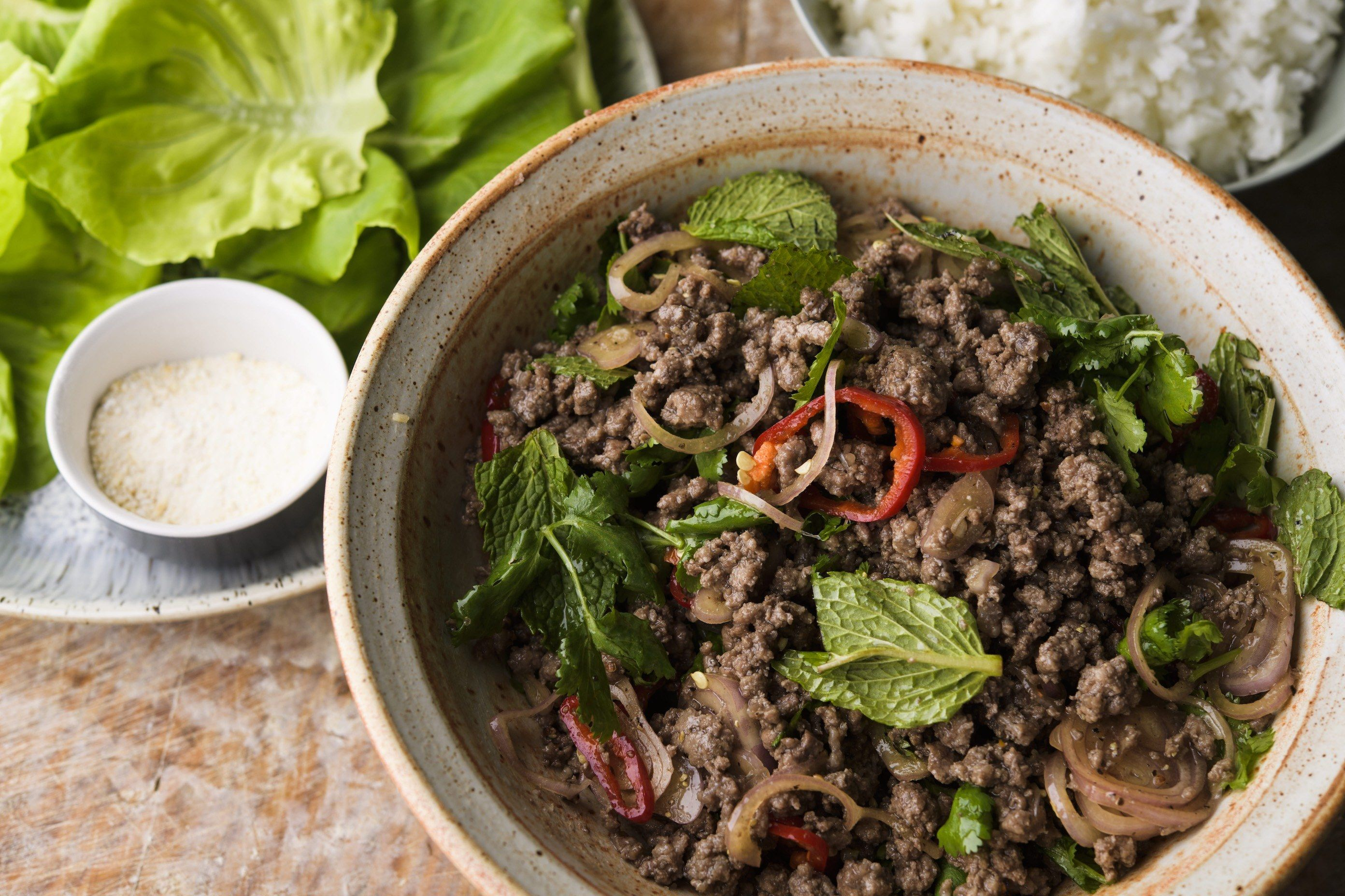 Spicy Beef Salad with Mint and Cilantro (Larb Neua)