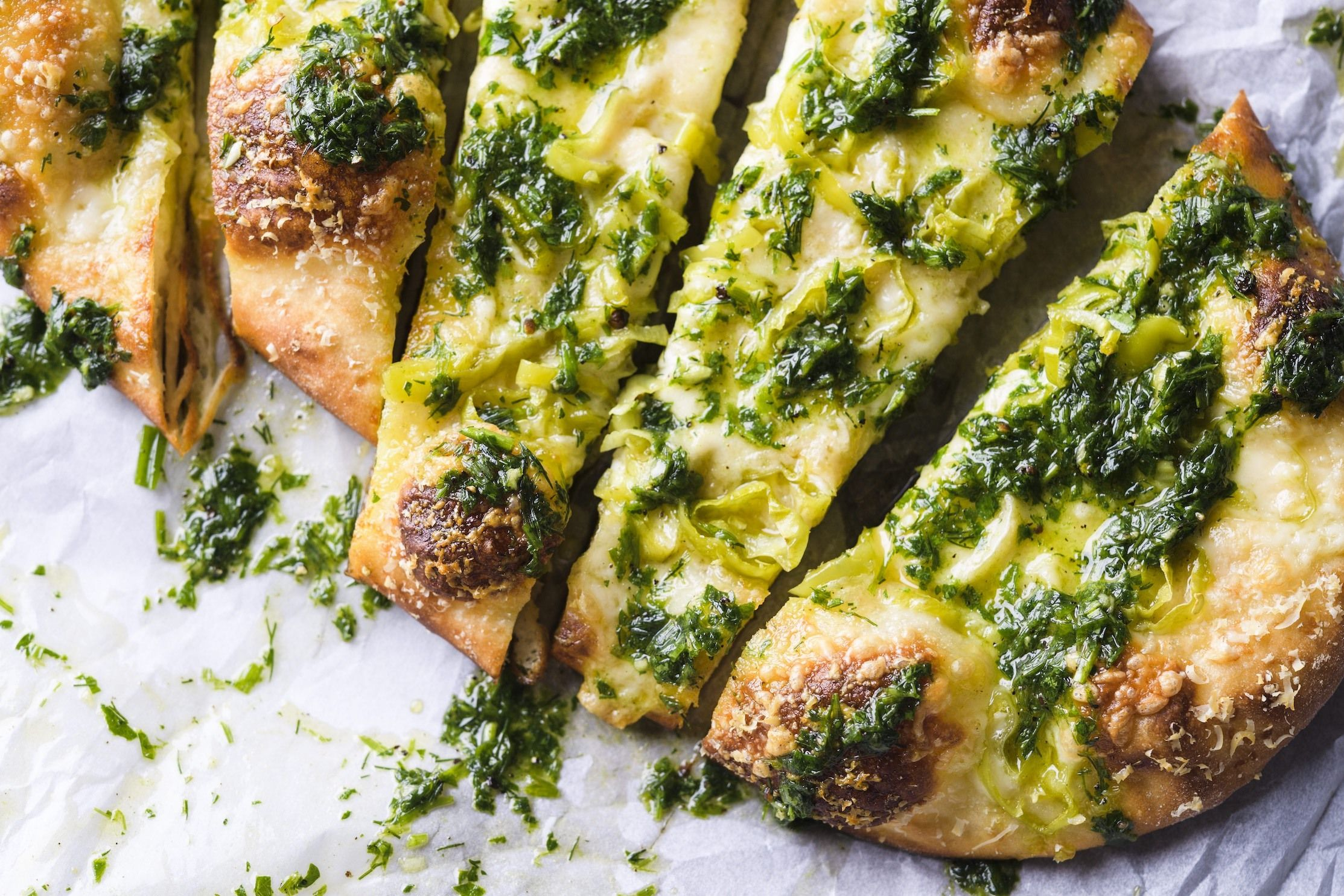 Peperoncini and Cheese Pizzas with Garlic-Herb Oil