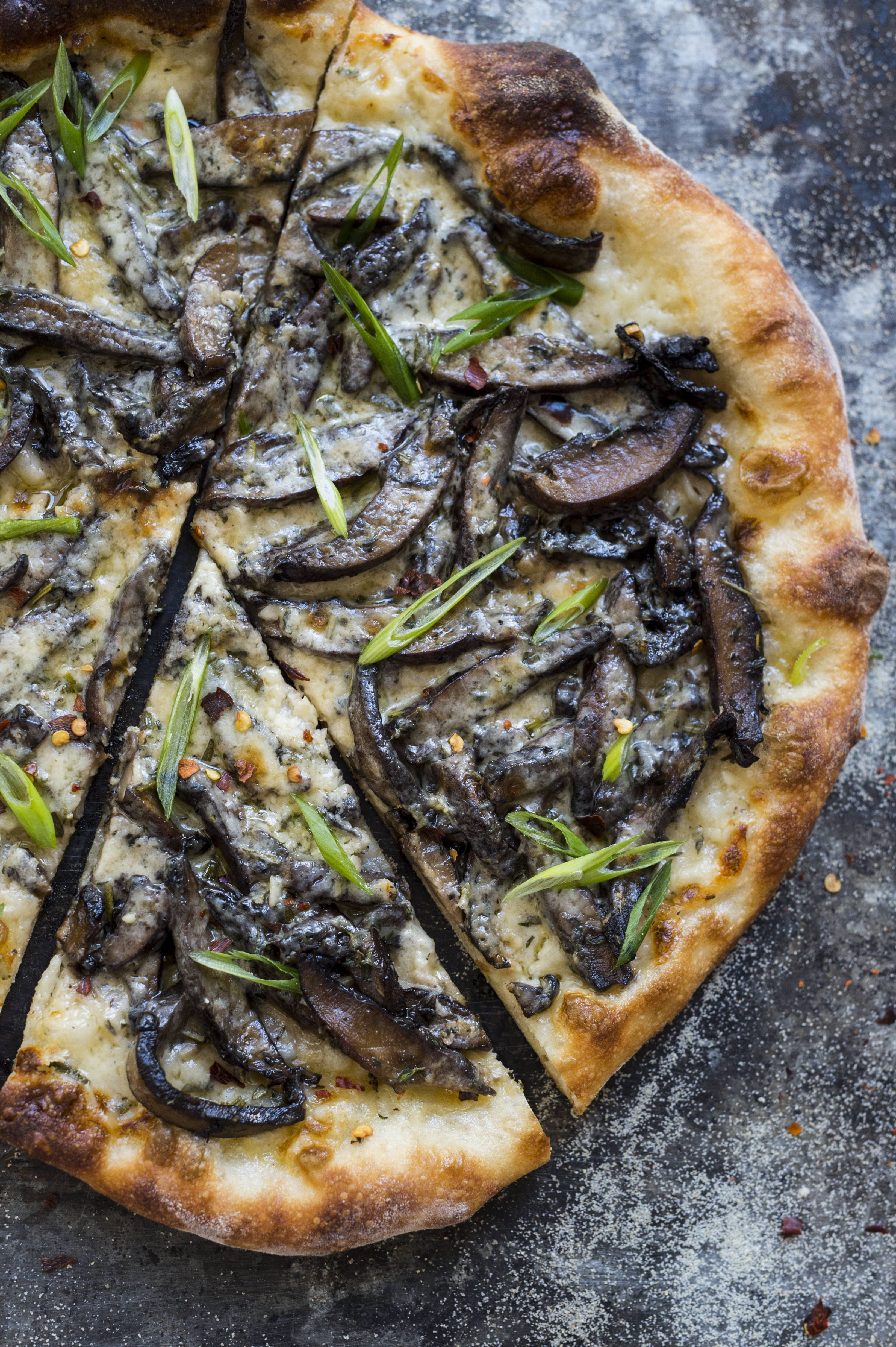 Roasted Mushroom Pizza with Fontina and Scallions