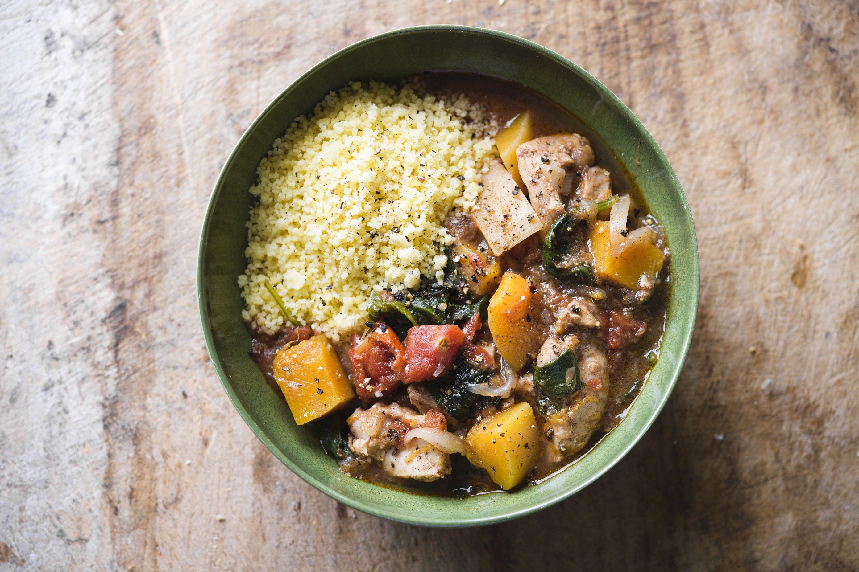 Chicken Tagine with Butternut Squash and Spinach