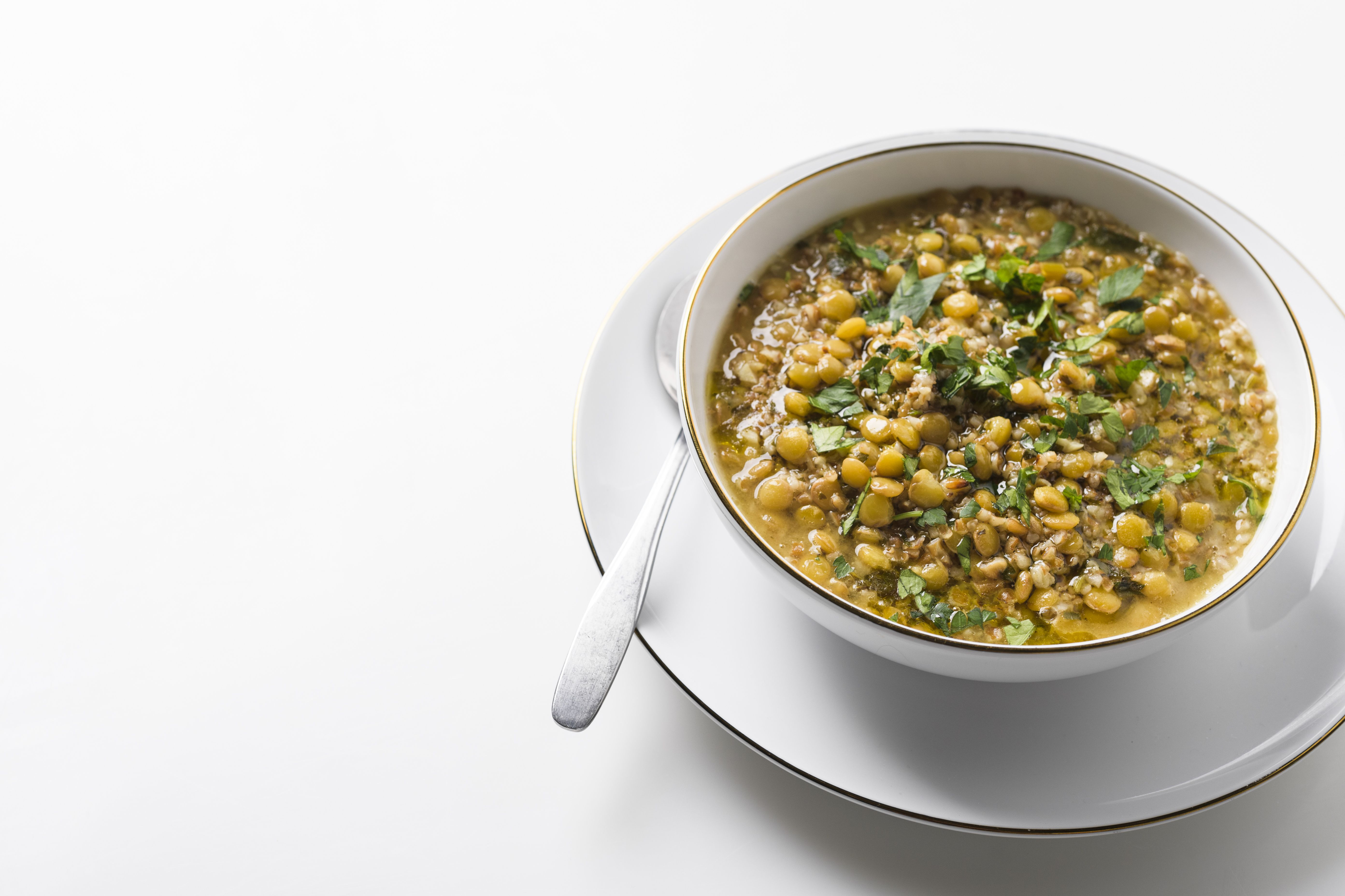 Toasted Bulgur and Lentil Soup with Garlic, Lemon and Parsley
