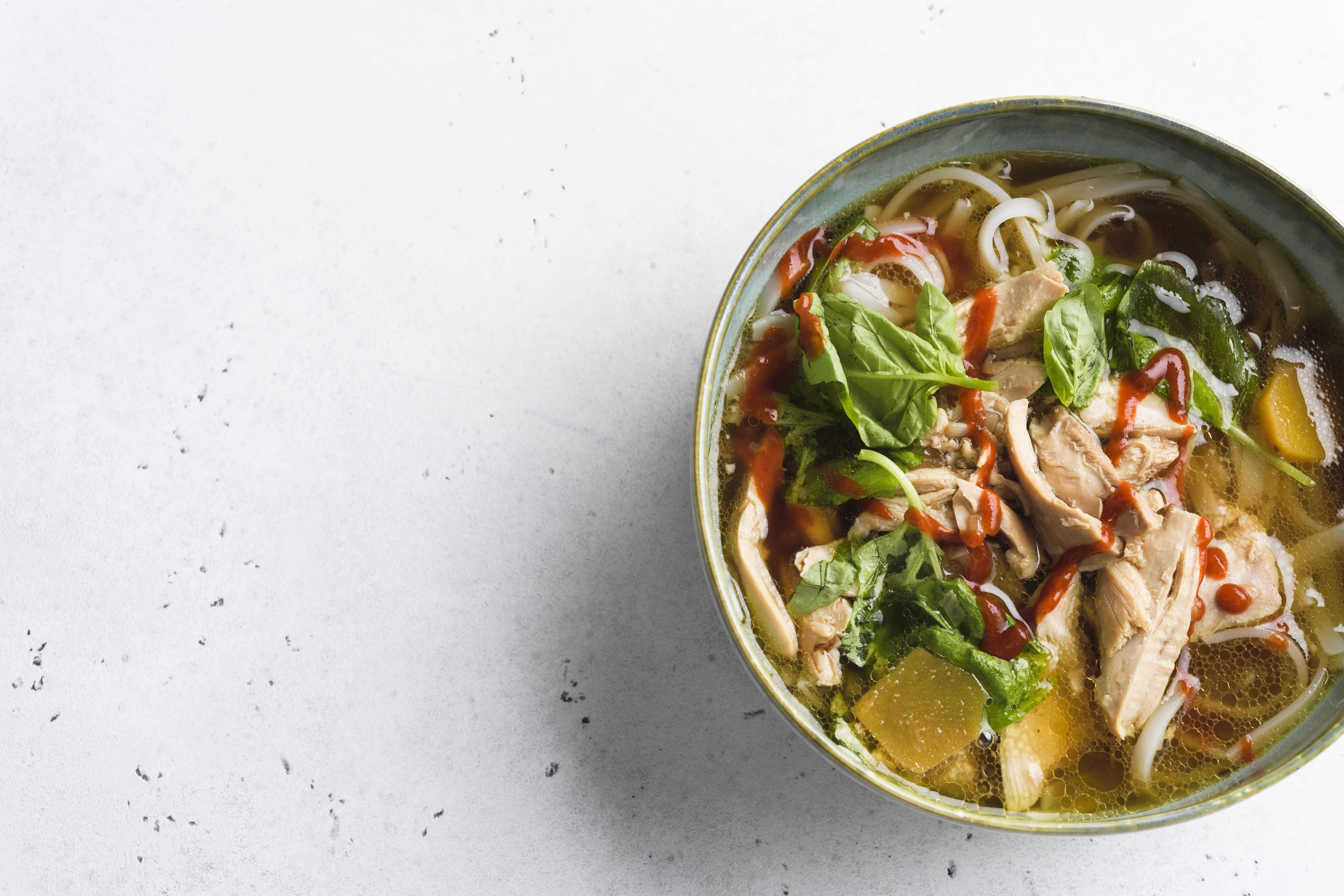 Chicken and Rice Noodles in Ginger-Hoisin Broth