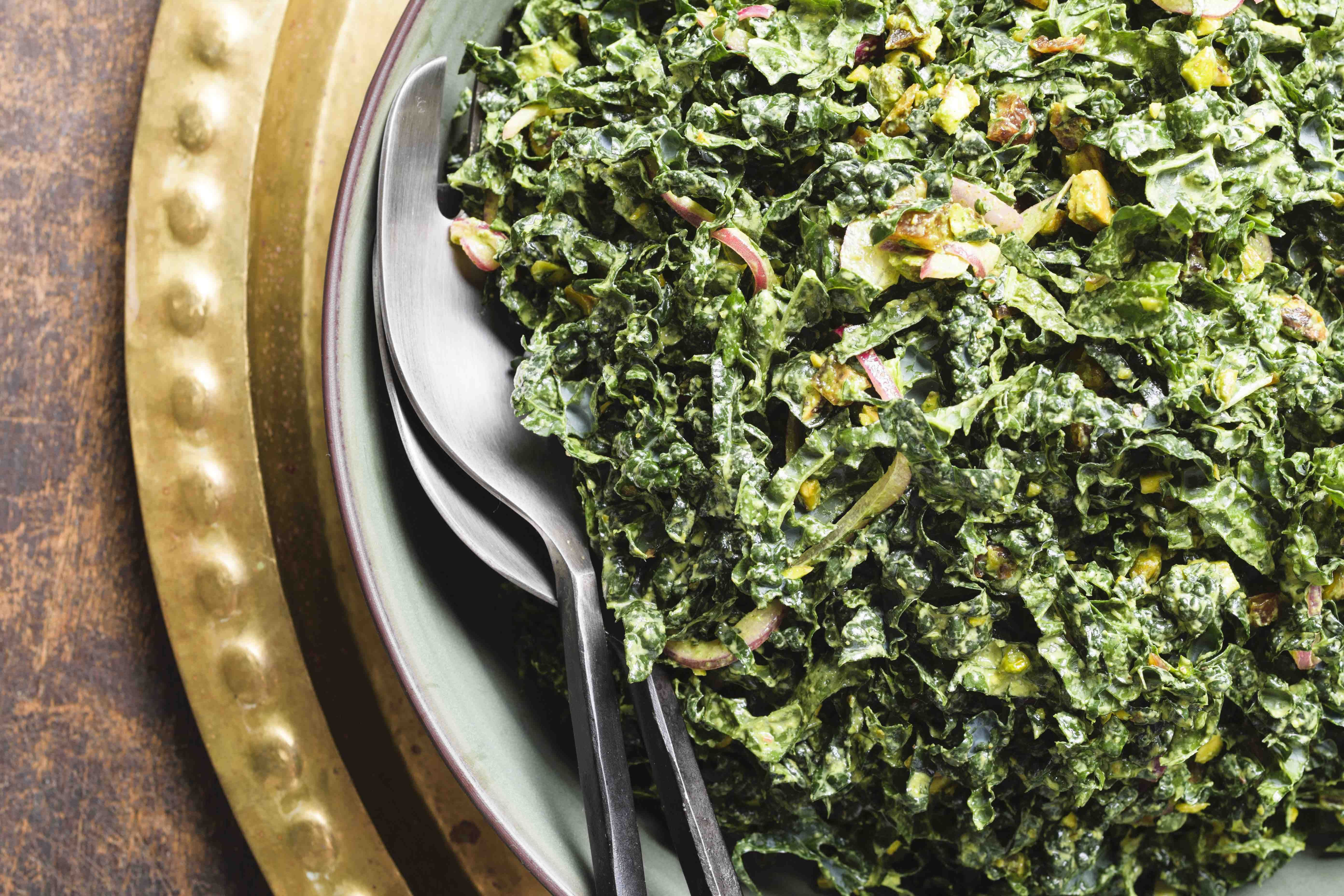 Kale Salad with Dates, Pistachios and Green Tahini