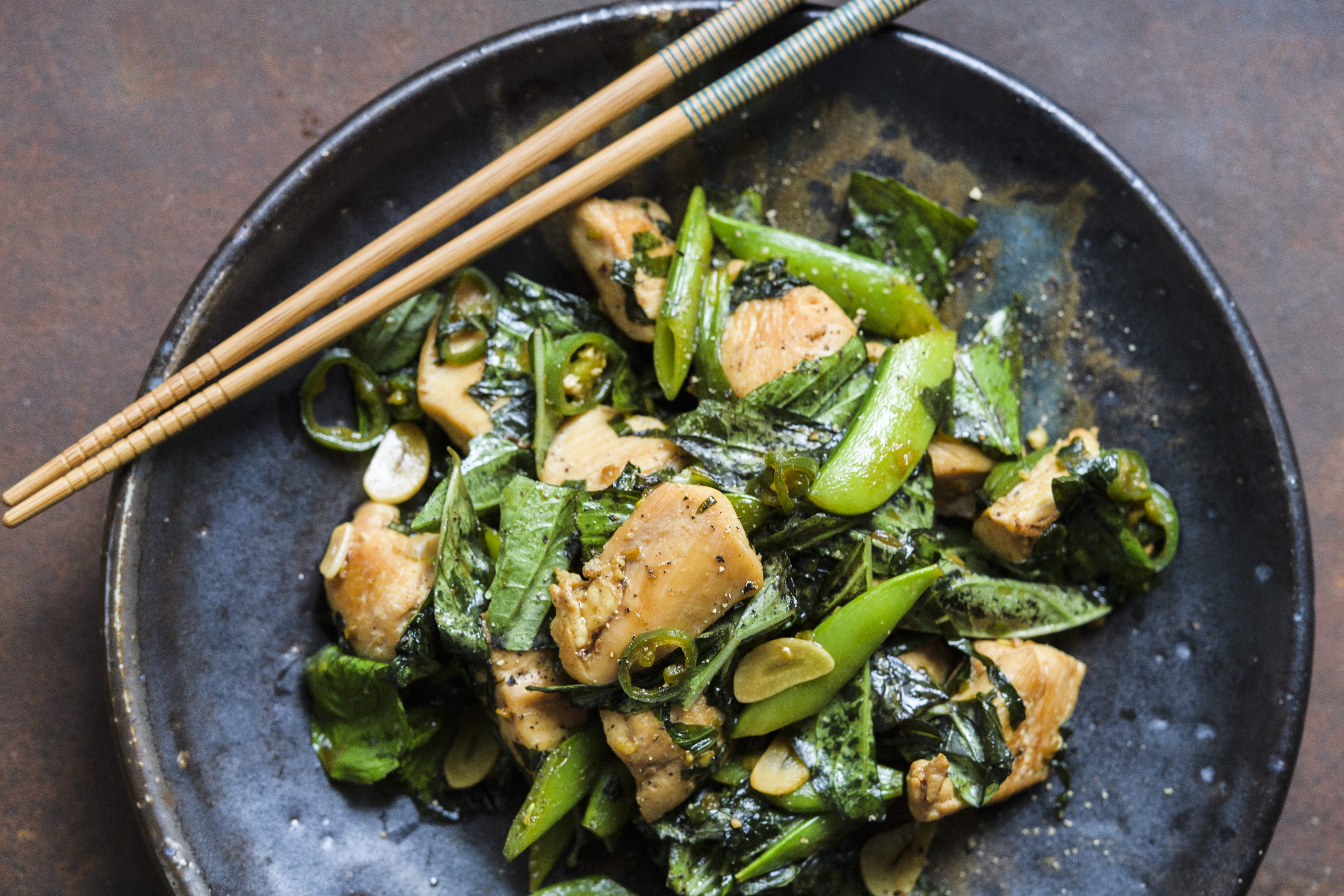 Stir-Fried Chicken with Snap Peas and Basil