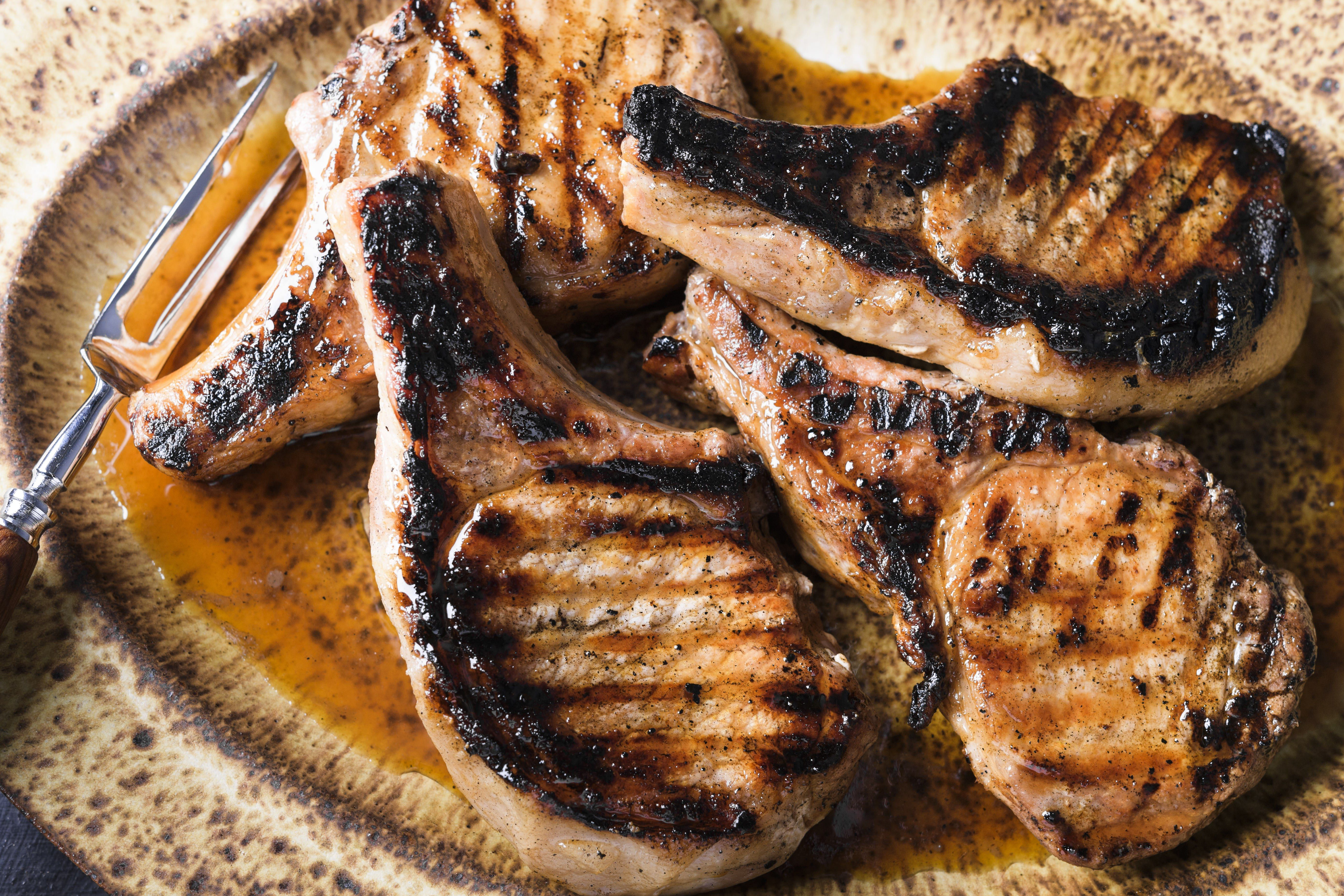 Grill-Smoked Pork Chops with Brown Sugar and Cider Vinegar Gastrique